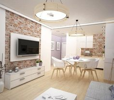 parement mural en brique et meubles blancs- salon, salle à manger et cuisine