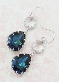 Montana Blue Swarovski Crystal with Clear Glass Dangle Earrings