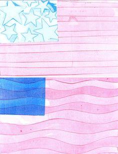 Gelatin print American flags — www.shastablasta.com
