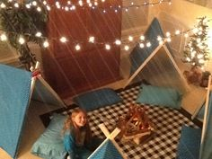 Indoor Camping Party - Lights and tree