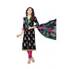 Cambric Cotton Black Churidar Suit Dress Material - 5491934