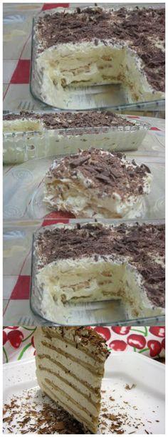Torta de Bolacha com Creme de Manteiga 400g de manteiga sem sal 3 gemas 2 latas de leite condensado #receita#bolo#torta#mousse#pudim#aniversario#casamento#pave#confeitaria#chessecake#chocolate#natal#anonovo#blackfriday