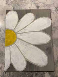 Easy Flower Painting, Flower Painting Canvas, Daisy Painting, Flower Canvas, Canvas Paintings, Painting & Drawing, Easy Canvas Art, Canvas Ideas, Diy Canvas