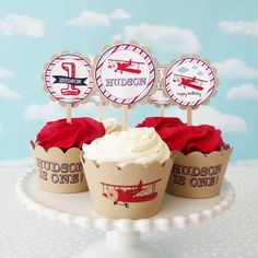 Vintage Airplane Cupcake Toppers & Wrappers Set #1st #1st-birthday #airplane