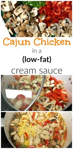 cajun chicken with a low fat cream sauce with no weird ingredients. super easy…