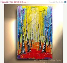 ORIGINAL Colorful Painting Birch Tree Aspen Pop by tjenkinsarts