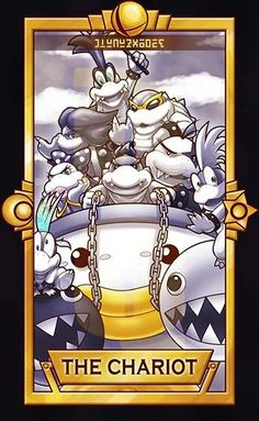 Bowser Jr and the Koopalings with a black and white Chomp-Chomp / Wan-Wan ============================= For more Super Smash Tarot Cards,pleasethis deck for updates!  ...