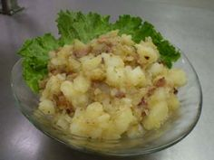 Hot German Potato Salad. I LOVE this stuff. It's tangy, yet sweet and salty and everything perfect.