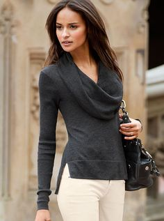 BASICS, VERSATILE PIECES ~~ Cowlneck Sweater Essential Sweaters  -- Very pretty combo of cowlneck with wide border hem @Victoria's Secret