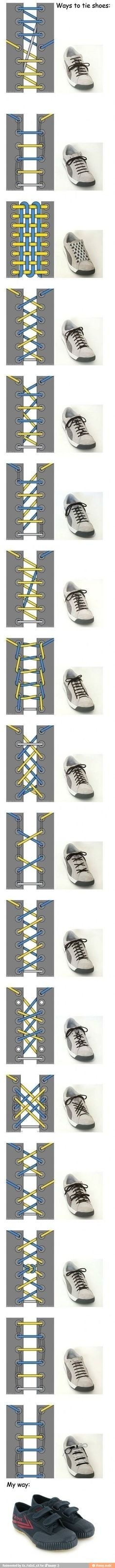 Haha this is funny but now i know different ways to tie my shoes :3