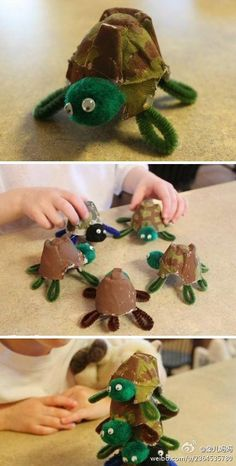 Turtle Egg Carton Craft #kidscraft #upcycle #pipecleaners