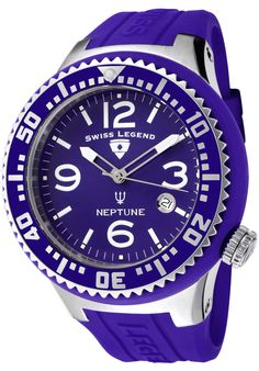 Brand SWISS LEGEND Style Series Neptune Style Casual Gender Men's Strap Width 18 mm mm at widest) Case Stainless steel with purple silicone cover Dial Color Purple Hands Silver tone, white and luminous hour and… Cool Watches, Rolex Watches, Purple Hands, Omega Watch, Accessories, Nice, Collection, Design, Products