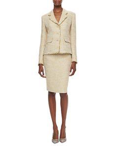 T8XVK Albert Nipon Shimmery Tweed Skirt Suit