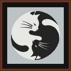 Black and White Yin Yang Cats Counted Cross by InstantCrossStitch Pebble Painting, Pebble Art, Stone Painting, Painted Rock Animals, Hand Painted Rocks, Rock Painting Ideas Easy, Rock Painting Designs, Pet Rocks, Rock Crafts