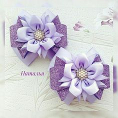 Ribbon Art, Fabric Ribbon, Fabric Flowers, Flower Hair Bows, Pink Hair Bows, Handmade Hair Bows, Handmade Flowers, Kanzashi Flowers, Ribbon Hair Bows