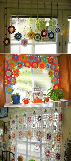 Join crochet flowers together into a beautiful window valance.