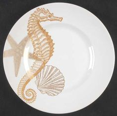 seahorse Dinnerware | 222 FIFTH (PTS) Coastal Life-Gold STOCK