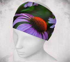 Headband - Coneflower - Wee Dog - Yoga headband - Pilates headband - Microknit -Quick dry -Ecopoly - Purple Flower - Performance Fabric by WeeDogWearableArt on Etsy