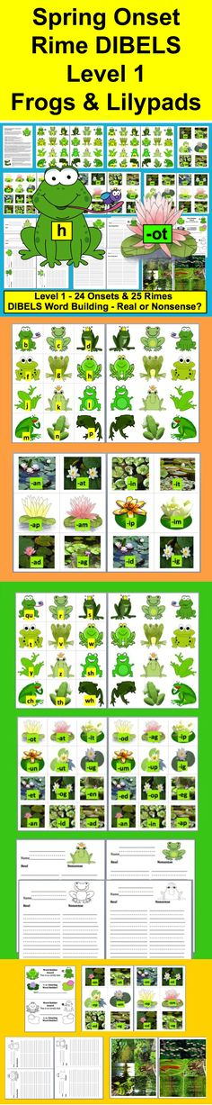 "$ Spring Literacy Center Activities – Frogs on Pads – Onset Rime DIBELS - Spring Theme - Integrates easily with Set 2 to make the activity gradually more difficult if you need to differentiate... 29 Page Download - 3 Ways to Play - Frogs with onsets (beginning sounds and digraphs) match up to lily pads with rimes (i.e. –at, -ip, -et). Optional recording sheets.  Simply pick a frog and match it to a lily pad with a rime that forms a word, OR Play ""Real or Nonsense?"""