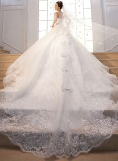 Lace Sequined Tulle Cathedral Train Wedding Dress