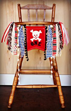Pirate Birthday Age HIGH CHAIR highchair by RawEdgeSewingCo, $22.95