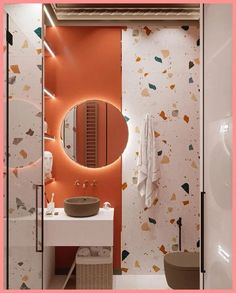 Coastal Home Interior Friends, the gallery has a bathroom with terazzo tiles and juicy red-orange! Bathroom Red, Bathroom Colors, Bathroom Cabinets, Colorful Bathroom, Houzz Bathroom, Boho Bathroom, Bathroom Design Small, Bathroom Interior Design, Small Bathrooms