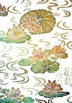 Bamboo and Water Swirls Stencil - Henny Donovan Motif Fabric Painting, Painting & Drawing, Oriental Wallpaper, Stencil Patterns, Water Lilies, Linocut Prints, Female Art, Painted Rocks, Paper Art