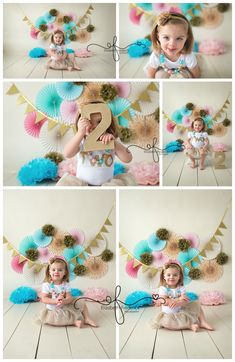 2 Year Old Smash Cake Session | 2nd Birthday Photography Session | Child Photographer | Aqua Teal & Gold Smash Cake | Paper Fan Backdrop | CT Smash Cake Photographer  CT Child Photographer Elizabeth Frederick Photography www.elizabethfrederickphotography.com