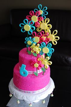Flowers birthday cake - flower colors of orange, red and yellow - would make it a perfect Cinco de mayo cake or a 5th of May birthday cake.  Could use red or orange fondant frosting on cake.