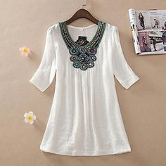 Embroidery Beading Cotton Shirt - 3 colors - USD $ 17.99