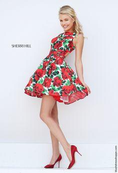 Short Sherri Hill 50444 Red Print Floral Open Back Prom Dress