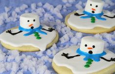Melting snowman sugar cookies