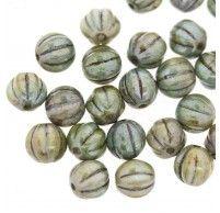 Grey Green Picasso Opaque Melon Bead