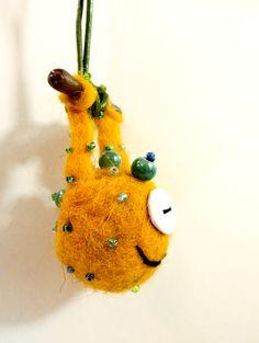 little wet felted monster pendant (No7)