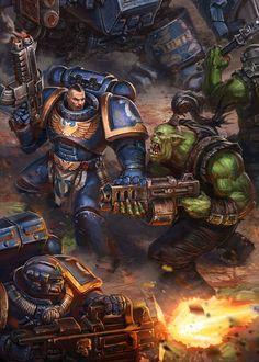 Ультра превозмогает орков,Wh Other,Warhammer 40000,warhammer40000, warhammer40k, warhammer 40k, ваха, сорокотысячник,фэндомы,Ultramarines,Ультрамарины,Space Marine,Adeptus Astartes,Imperium,Империум,Orks