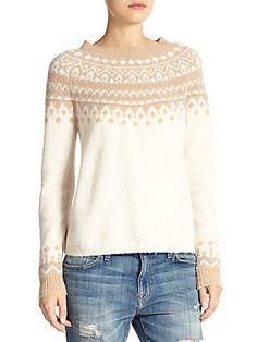 Joie Deedra Fairisle Sweater in heather camel