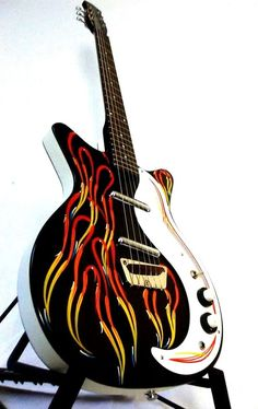 CUSTOM Danelectro Jimmy Page Electric Guitar hand painted pinstripe flames Beginner Electric Guitar, Cool Electric Guitars, Famous Guitars, Guitar Collection, Hard Metal, Fender Stratocaster, Music Store, Acoustic Guitar, Music Instruments
