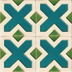 """Euromkii - Portuguese hand made cream, turquoise & lime green ceramic tiles - $10.45 per tile (5.5""""x5.5"""" square handmade filter clay tiles. Minimum of 50 tile order)"""