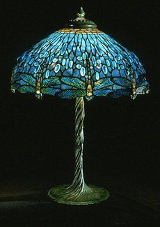"""Tiffany Blue """"Drop Head"""" Dragonfly Table Lamp - A rare and very fine example of a """"drop head"""" style dragonfly shade, with ovoid cabacchon inset glass """"jewels."""" The shade rests on a nicely twisted vine base.  i love these lamps"""