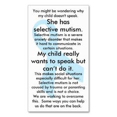 Selective Mutism cards