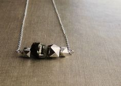 Pyrite and Silver Cluster Chain Necklace - Sterling Silver.