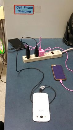 Classroom cell phone charging area very successful.