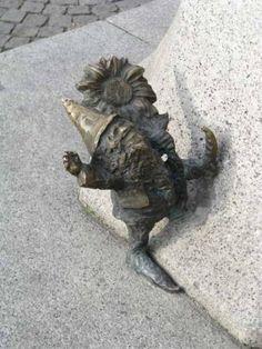 Kind Dwarf, one of several dwarf sculptures in Wroclaw, Poland