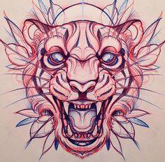 Resultado de imagen para lion tattoo neo traditional