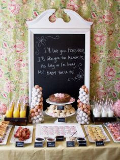 I like the chalk board although this hand writing is horrible. lol 25 Springtime Baby Shower Themes for Girls