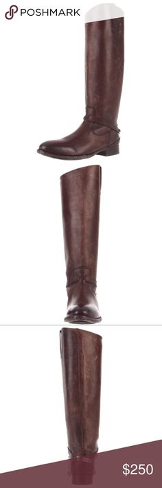 """NWT Frye Lindsay Plate Knee High Boot NWT (box included) Frye Lindsay plate knee high boots. I love these boots, price is firm because I don't know that I want to give them up! Size 8 but the toe is somewhat pointed so they fit 7.5 Dark brown stone wash leather Shaft measures approximately 16"""" Heel measures approximately 1"""" Boot opening measures approximately 13"""" around Knee-high riding boot featuring slender ankle strap and antiqued logo plaque at heel Asymmetric topline with single pull…"""