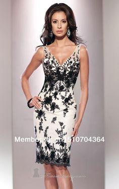 Moda 2014 corto vaina v cuello de encaje por la mañana vestido vestido de gala en de en Aliexpress.com
