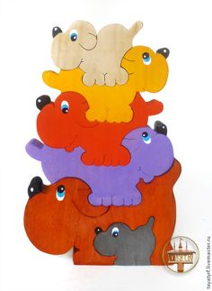 Собачки деревянный паззл - развивающая игрушка,развитие мелкой моторики
