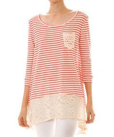 Coral & White Stripe Lace-Trim Tunic #zulily #zulilyfinds