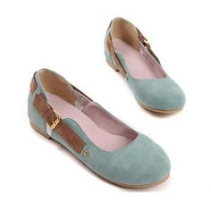Fashion and Casual Buckle Embellished Round Head Design Comfortable Women's Flat Shoes, BLUE, 38 in Flats | DressLily.com